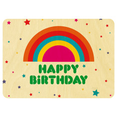 Happy rainbow birthday wooden card