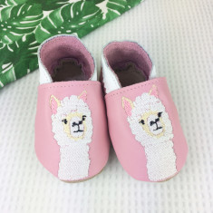 Personalised Embroidered Pink Alpaca baby shoes