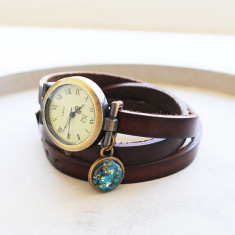 Leather wrap watch with handmade Vincent Van Gogh almond blossom charm