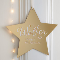 Personalised Mirrored Gold Family Star Wall Plaque