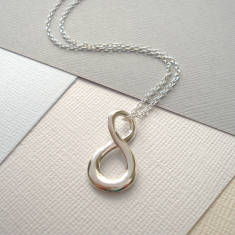 Sterling Silver Contemporary Infinity Necklace