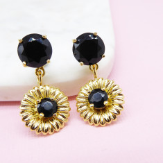 Daisy drop earrings Gold