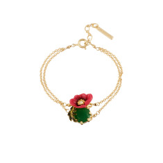 Pink Flower and Green Stone Bracelet