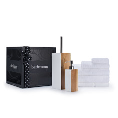 Towels, soap dispenser and toilet brush bathroom gift box