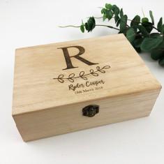 Personalised Initial Leaves Keepsake Box