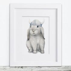 Viking Bunny Rabbit Print
