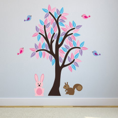 Pink and Purple Woodland Tree Wall Sticker
