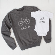 Personalised Bike And Trike Daddy Jumper And Child Set