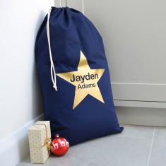 Personalised Metallic Gold Star Navy Christmas Sack