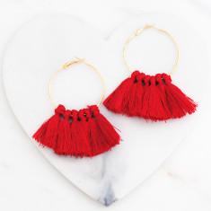 Tassle hoop earrings in rose red and gold