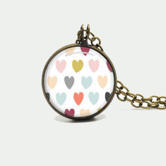 Hearts silver or antique chain necklace