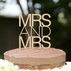 Timber Mrs and Mrs contemporary wedding cake topper