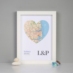 Personalised map heart wedding or anniversary print