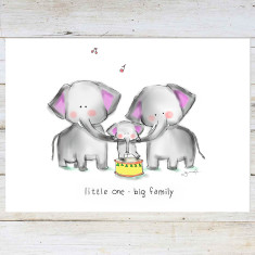 Elephant Family. Nursery Art Print
