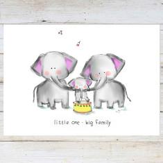 Elephant Family. Nursery Art Print