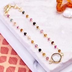 Sara central stone bracelet with tourmaline
