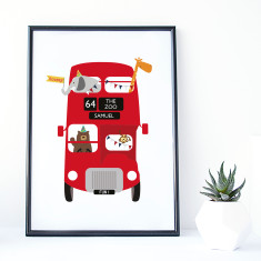 Zoo Bus Personalised Print for Kids