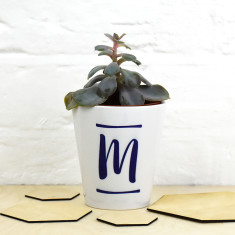Brush Stroke Initial Plant Pot