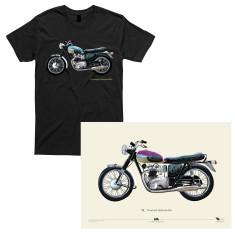 Triumph Bonneville motorcycle t-shirt + Triumph Bonneville Hand Painted A2 Poster