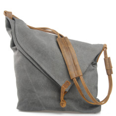 Canvas cross body bag with leather straps in grey