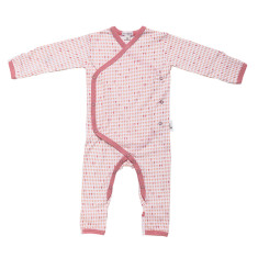 Baby jumpsuit in pink harlequin