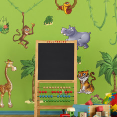 Small children's jungle animals wall stickers scene