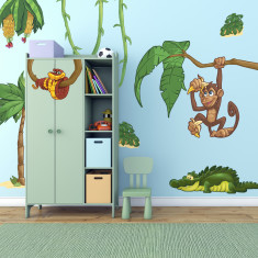 Large children's jungle animals wall stickers