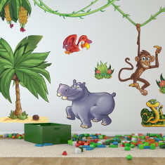 Large children's jungle animals wall stickers pack two