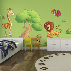 Large children's jungle animals wall stickers pack three