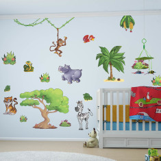 Small children's jungle animals wall stickers pack one