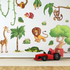 Small children's jungle animals wall stickers pack two