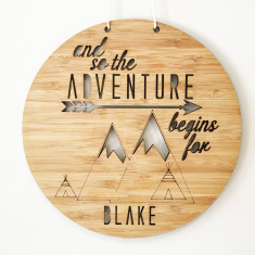 Adventure begins here personalised wall hanging