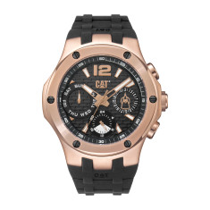 CAT NAVIGO MULTI dial Dual Time Watch in Rose Gold Stainless Steel & Black Rubber Band