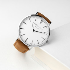 Men's Personalised Leather Watch In Camel