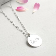 Personalised Sterling Silver 'love' Disc Pendant Necklace