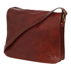Nero leather messenger bag in brown