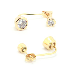 Double crystal stud earrings in gold