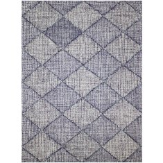 India navy hand tufted wool rug