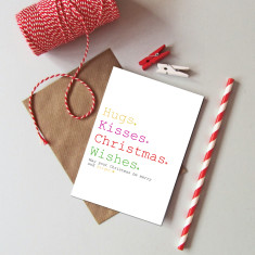 Hugs, kisses, Christmas wishes cards (pack of 6)