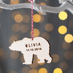 Personalised Wooden Baby Polar Bear Decoration