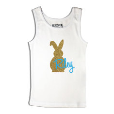 Boys' personalised Easter bling bunny singlet in blue or mint