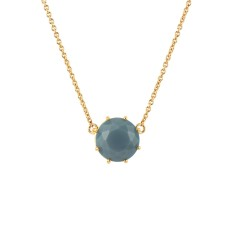 Round stone necklace with Blue Grey Diamantine