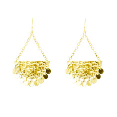 Moon & back earrings in 18 kt yellow gold plate with discs