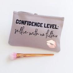 Confidence level makeup bag