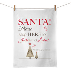 Santa please stop here personalised tea towel