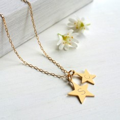 Personalised Gold Double Star Initial Necklace