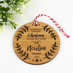 New home personalised etched bamboo ornament