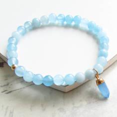 Azure aqua jade gemstone bracelet