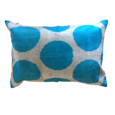 Turkish ikat cushion in electric blue spots