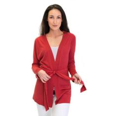 Silk Cashmere Kimono Cardigan In Burnt Red